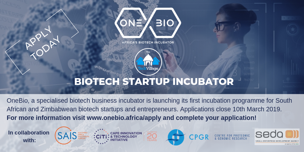 CPGR partner OneBio launches its first biotech incubation programme for South African and Zimbabwean startups